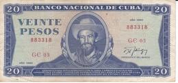 BILLETE DE CUBA DE 20 PESOS DEL AÑO 1990   (BANK NOTE)  CAMILO CIENFUEGOS - Cuba