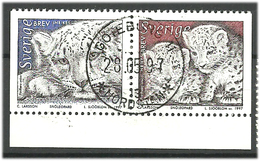 Sweden 1997 Animals: Snow Leopard (Panthera Uncia) Mi 1990-1991 Cancelled(o) - Gebruikt