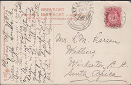 1912. VESTBANERNES POSTEXP. 21 X 12. 10 ØRE Posthorn To Wedburg, Windsorton, South Af... (MICHEL 79) - JF309959 - Noorwegen