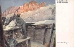 BEOBACHTERPOSTEN~WW1 MILITARY OBSERVER POSITION~KARL SCHUSTER KUNSTLER~KRIEGSHILFSBURO POSTCARD 42887 - Weltkrieg 1914-18