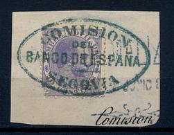 "1883 FISCALES , FRAGMENTO CON TIMBRE MÓVIL DE 10 CTS. "" COMISIÓN DEL BANCO DE ESPAÑA / SEGOVIA "" - Post-fiscaal"