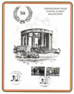 Belgium 1968 COB 11475-76 Mi. 1532-33 On Commemoration Card 7-Aug-1988 Nieuwpoort, King Albert I Monument 50 Year - Souvenir Cards