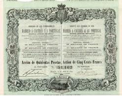 Titre Ancien - Sociedad De Los Ferrocarriles De Madrid à Caceres Y à Portugal - Titulo De 1895 - Déco Imp. Chaix - Railway & Tramway
