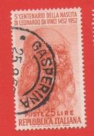 1952 (686) Leonardo Da Vinci Lire 25 - Illa Tiratura Posizione Di Filigrana DA - Variedades Y Curiosidades