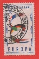 1957 (818) Europa Unita Lire 60 POSIZIONE FILIGRANA 65° S - Variedades Y Curiosidades