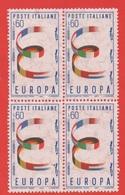 1957 (818) Europa Unita Lire 60 NUOVO IN QUARTINA  POSIZIONE FILIGRANA 65° S - Variedades Y Curiosidades