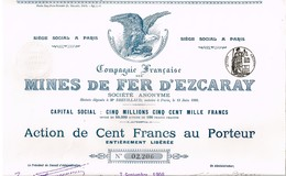 Titre Ancien - Compagnie Française Des Mines De Fer D'Escaray - Titre De 1908 - Mines