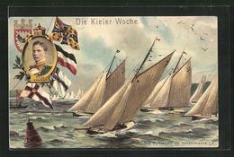 AK Kiel, Wettsegeln Der Sonderklasse Auf Der Kieler Woche, Porträt Prinz Adalbert - Vela