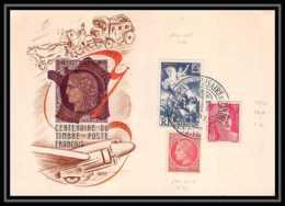 5636/ Carte Commémorative (card) France Centenaire Du Timbre Poste Francais 1949 - Postmark Collection (Covers)
