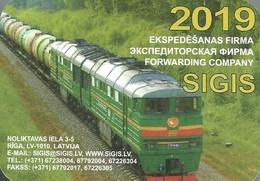 RAIL * RAILWAY * RAILROAD * TRAIN * LOCOMOTIVE * RIGA * CALENDAR * SIGIS 2019 * Latvia - Calendari
