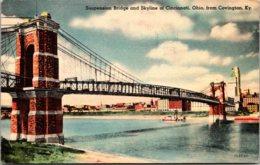Kentucky Covington View Of Suspension Bridge And Skyline Of Cincinnati Ohio 1945 Kreamer Art - Covington
