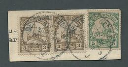 New Guinea German 1901 Yachts 3pf Pair & 5pf Used On Piece Seepost Zweiglinie Cds - Colony: German New Guinea