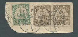 New Guinea German 1901 Yachts 3pf Pair & 5pf Used On Piece Maron Cds - Colony: German New Guinea