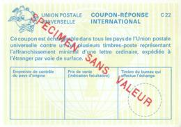 SPECIMEN Sans Valeur - Poste - Coupon-réponse International Type C22 - Postdokumente