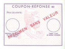 SPECIMEN Sans Valeur - Poste - Coupon-réponse International Type E - Documents De La Poste