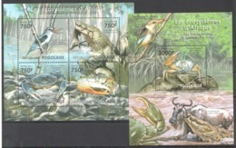 TG1001 2011 TOGO TOGOLAISE FAUNA REPTILES LES ECOSYSTEMES SOUTH AFRICAN MANGROVES 1KB+1BL MNH - Timbres
