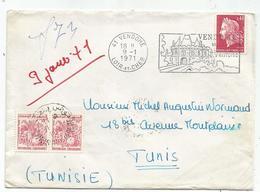 CHEFFER 40C SEUL LETTRE 41 VENDOME 9.1.1971 POUR TUNISIE TAXE 10M PAIRE TUNIS - 1967-70 Marianne (Cheffer)