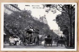 X75237 PARIS II Et IX Boulevard Des ITALIENS Scène De Rue 1900s Taxi Hippomobile Attelage Charette  Automobiles - Arrondissement: 02