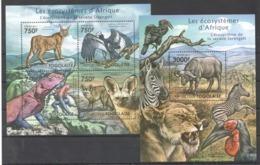 TG1009 2011 TOGO TOGOLAISE FAUNA ANIMALS LES ECOSYSTEMES D'AFRIQUE SERENGETI 1KB+1BL MNH - Stamps