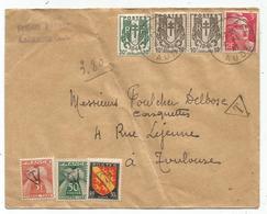 GANDON 3FR+ CHAINE10CX2+30X LAGRASSE AUDE 4.1.1947 POUR TOULOUSE TAXE 3FR+50C+ BLASON 30C UTILISATION TAXE RARE - 1945-54 Marianna Di Gandon