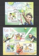 TG1027 2011 TOGO TOGOLAISE SPORT TENNIS NADAL FEDERER MURRAY DJOKOVIC 1KB+1BL MNH - Tennis