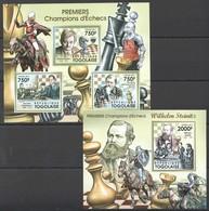 TG1031 2011 TOGO TOGOLAISE SPORT CHESS PREMIERS CHAMPIONS D'ECHECS 1KB+1BL MNH - Chess