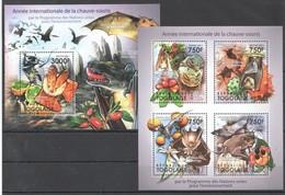 TG1055 2011 TOGO TOGOLAISE FAUNA ANIMALS ENVIRONNEMENT BATS CHAUVE-SOURIS 1KB+1BL MNH - Bats