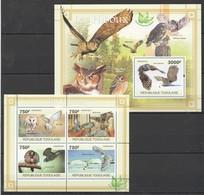 TG1082 2011 TOGO TOGOLAISE FAUNA BIRDS OWLS LES HIBOUX 1KB+1BL MNH - Hiboux & Chouettes