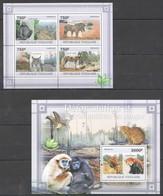 TG1087 2011 TOGO TOGOLAISE FAUNA ANIMALS DEFORESTATION MAMMIFERES EN DANGER 1KB+1BL MNH - Otros