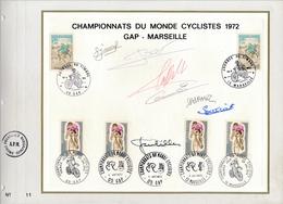FRANCE - Feuillet CEF Cachets JDT 1972 Gap Marseille Et Championnats Du Monde Cyclistes - Signatures Coureurs - 1970-1979