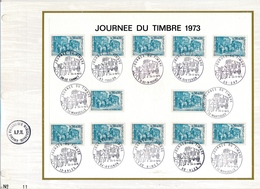 FRANCE - Feuillet CEF 12 Cachets Journée Du Timbre 1973 - Le Cannet, Toulon, Sisteron, Marseille Etc... - FDC