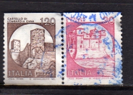 ITALIA REPUBBLICA ITALY REPUBLIC 1980 1991 CASTELLI D'ITALIA BOBINA MACCHINETTE LIRE 30+120+30 STRISCIA USATA USED - 1946-.. Republiek