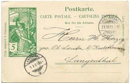 240 - 72 - Entier Postal UPU Avec Cachets à Date Biel Et Langenthal 31.12.1900 Et 01.01.01. ! - Entiers Postaux
