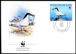 07865) Benin - 1989 WWF 077 - Mi 476 / 479 - 4 FDC -  Rosenseeschwalbe - Benin – Dahomey (1960-...)
