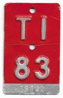 Velonummer Tessin Ticino TI 83 - Plaques D'immatriculation