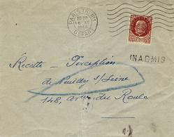 16 NOV. 1944- Enveloppe Affr. 1,50 Pétain Refusée  INADMIS  (T P Pétain Démonétisés Le 1-11-44 ) - 2. Weltkrieg 1939-1945