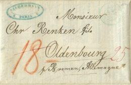 """1844 PARIS ,Dokument ,,ADMINISTRATION DES MINES DE BOUXWILLER"""" M. Briefteil N. Oldenburg - Marcophilie (Lettres)"""
