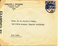 Peru Censored Cover Sent To USA Lima 4-6-1942 Single Franked - Peru