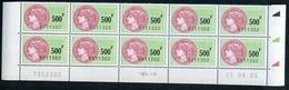 Timbre Fiscal (fiscaux) - SFU N° 511 Neuf - Bas De Feuilles De 10 Timbres - Coin Daté Du 25 Avril 2001 - Fiscali
