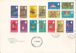 Gilbert Ellice Islands FDC 1-1-1968 Definitives Complete Set Of 15 Stamps Sent To USA - Gilbert- Und Ellice-Inseln (...-1979)