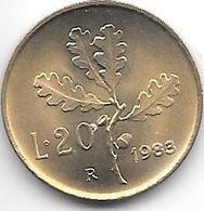 *italy 20 Lire 1983  Km 97.2  Unc/ms63 !!! - 1946-… : Republic