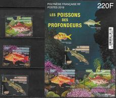 FRENCH POLYNESIA,  2019, MNH,FISH, FISH OF THE DEEP, 3v+SHEETLET - Poissons