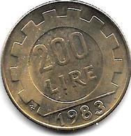*italy 200 Lire 1983  Km 105  Unc/ms63 !!! - 1946-… : Republic