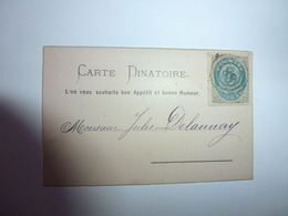 TRES RARE PETITE CARTE DINATOIRE MENU DU 12 OCTOBRE 1891 - Menu