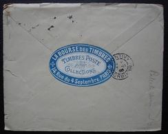 La Bourse Des Timbres (Paris) 1905 étiquette Au Dos D'une Lettre Pour Pontivy (déchirée) - Storia Postale
