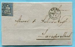 Faltbrief Von Bern Nach Langenthal Mit Strubel 23G Und Befundsanzeige - 1854-1862 Helvetia (Non Dentellati)