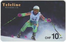 SWITZERLAND C-772 Prepaid Teleline - Sport, Winter, Skiing - Used - Suisse