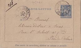 20346# CARTE LETTRE ENTIER SAGE BOITE RURALE E Datée De GLENAY Obl ST VARENT DEUX SEVRES 1891 - Marcofilie (Brieven)