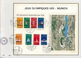 ALLEMAGNE - Feuillet CEF - Jeux Olympiques 1972 - MUNICH - Storia Postale