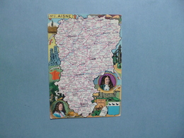 Carte Département  De L'AISNE  -  02  -  Illustration PINCHON  -  Géographique  -  Villes  -  Illustrations Diverses - France